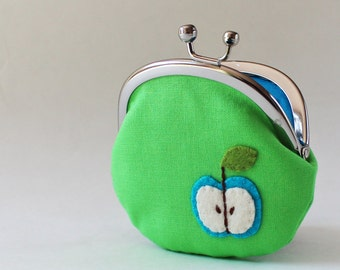 Green apple coin purse, change purse, kiss lock coin purse, apple green, retro mod, blue, fruit, kids