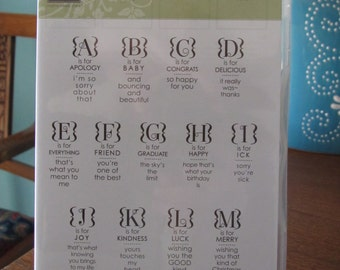 Used Like New Occasions Alphabet Stampin' Up! retired rubber stamp set (26)