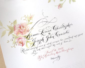 Marriage Certificate, Wedding, Guestbook, alternative, Custom Calligraphy, Hand painted, Sign-in Scroll