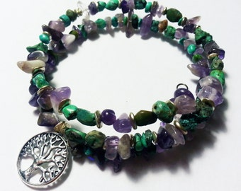 Memory wire bracelet with tree of life charm, amethyst chips, turquoise chips, silver beads