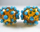Topaz and Blue Dots Hollow Lampwork Glass Bead Pairs