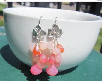 CIJ 35% OFF Chalcedony Cluster Earrings, Pink and Orange Earrings, Gemstone Earrings, Matte Silver, Under 50,