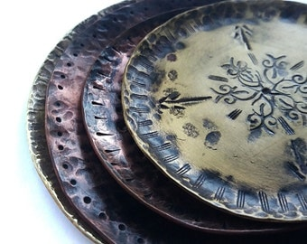Hammered Copper Dish - Incense Dish - Copper Plate - Small Size