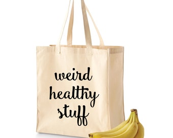 Grocery Tote | Grocery Bag | Reusable Grocery Bag | Weird Healthy Stuff | Cute Grocery Tote