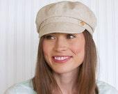 Womens Linen Hat Newsboy Hat Womens Hat  - Taupe Newsboy Hat - Newsboy Cap - Summer Hat - MADE TO ORDER