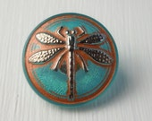 Czech Glass Button - 18mm Hand Painted Aqua/Copper Dragonfly