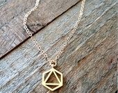 Dainty Hexagon Triangle Necklace, Gold Hegaxon Necklace, Geometric Necklace, Layering Necklace