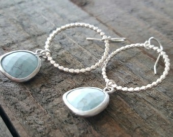 Light Turquoise Glass and Sterling Silver Hoop Earrings