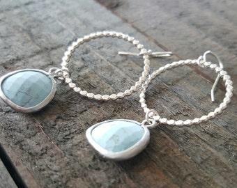 Light Turquoise Sterling Silver Hoop Earrings, Turquoise Earrings, Sterling Silver Hoops, Everyday Jewelry, Long Dangle Earrings