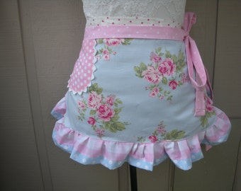Pink Aprons - Blue Womens Half Aprons - Shabby Chic Apron - Roses and Pink Dots Handmade Apron - Chic and Shabby Apron - Annies Attic Aprons