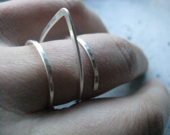 Spike   triangle ring   sculptural silver ring, modern silver ring, geometric ring,  architectural ring, adjustable statement ring