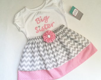 Boutique Monogrammed BIG SISTER OUTFIT in grey chevron and pink  polka dots.. girls clothing