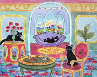 ORIGINAL PAINTING, 3 Black Kitties with Poppies by Parlour and Chipmunk towing Mouse in One Horse Open Blueberry Pancake, by DM Laughlin