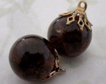 4 pcs. crackle glass brown smokey topaz charms pendants 14mm - f5010