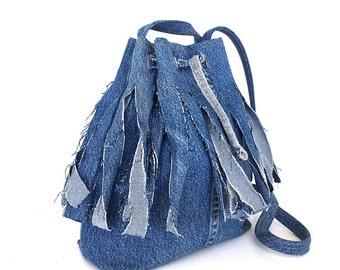 Recycled bucket bag , Fringe bucket bag, Drawstring purse, Jeans side bag, Teens purse, Girls fashion, Upcycled purse, Denim crossbody bag