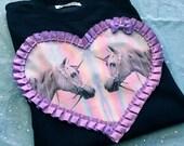 Magical Unicorns Digital Print Heart Applique Unisex MEDIUM