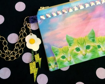 Sunset Kittens and Studded Digital Print Wristlet Pouch with Zipper