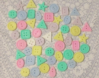52 Pastel Shape Craft Buttons Plastic