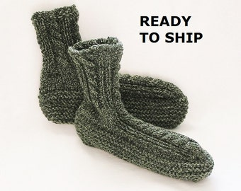 Mens Slippers, Adult Bedsocks Green Tweed Camo Handknitted High Cuff,  Size 9 - 10
