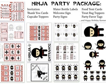 "PDF: ""Cute but Fierce"" Ninja Party Package - Invitation Thank You Card Party Favor Topper Signs Water Bottle Labels Food Tent Printable DIY"