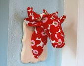 Faux Taxidermy - Deer Head Mount - Plushidermy Plaque - Marimekko Unikko Fabric - Wall Art