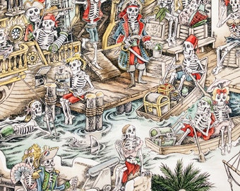 Skelwags Pirate Skeleton Ship creme background Alexander Henry Cotton Fabric 1 Yard