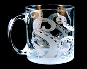 Octopus Tentacles Coffee Mug - Frosted Glassware - Glass Coffee Cup - Custom Made to Order