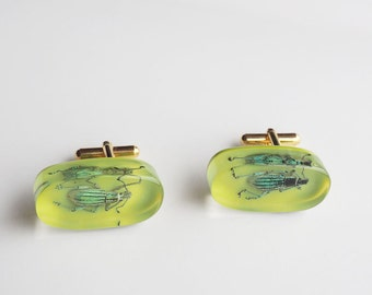 Funky green lucite cufflinks with real exotic bugs