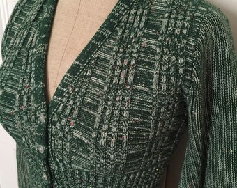 Vintage 70s bubble sleeve cropped cardigan sweater
