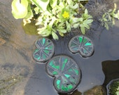 Stained Glass Lily Pads, 3 Floating Mosaic Sculptures, Water Garden Art, Pond Art, Outdoor Rooms, Home Decor, Garden Bed Decor, Green Leaves