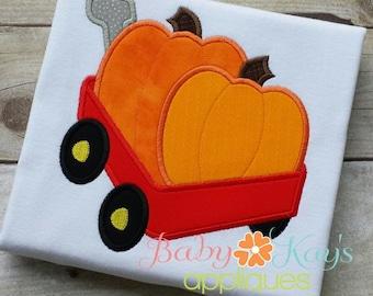 Wagon full of Pumpkins Applique Design 4x4, 5x7, 6x10, 8x8