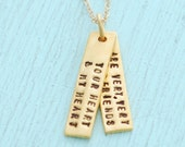 """Hand stamped friendship quote necklace, """"Your heart and my heart are very, very old friends"""" - Hafez eco-friendly 14kt gold vermeil charm."""
