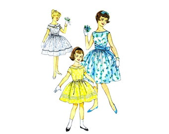 1960s Girls Full Skirt Dress Simplicity 3413 Vintage Sewing Pattern Size 10 Breast 28 UNCUT