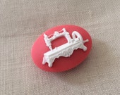 antique SEWING MACHINE motif needle minder cross stitch sewing hand quilting needle nanny magnetized