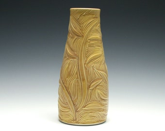 Dark Yellow Vase with Branch Carving