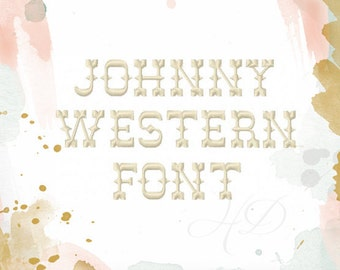 "3"" inch Western Embroidery Font Machine Embroidery Instant Download Johnny  BX instant download"