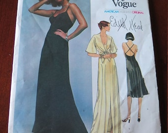Vintage 70s Vogue 1560 EDITH HEAD Evening Dress and Jacket Sewing Pattern size 10 UNCUT