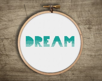 modern cross stitch pattern ++ dream big summer craft ++ pdf INsTAnT DOwNLoAD ++ diy ++ hipster ++ handmade design