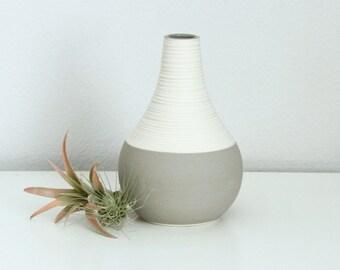 Grey Porcelain Vase - Short Groove Vase in Matte Grey - Pottery Vase Grey - Textured Ceramic Vase