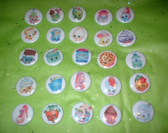 25 Buttons Of Shopkins    For  Hair Bow CentersMagnets,Hair Clips1