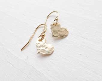 Hammered Gold Heart Earring Dainty Gold Jewelry Gold Dangle Earrings Tiny Heart Earings Small Sideways Heart Charms Love Gift Jewelry