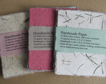 Handmade Paper from recycled materials - small packet
