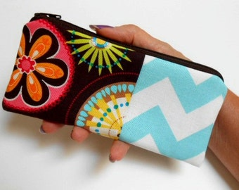 Zipper Pouch Smart Phone Pouch ECO Friendly Padded NEW SIZE Carnival Bloom with Chevron