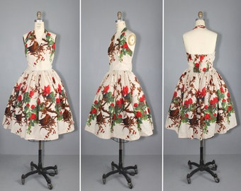 vintage dress / 1950s / border print / BOMBSHELL halter dress