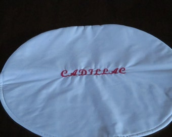 Steering wheel cover, white, Cadillac, red, auto accessory, custom made, handmade, car accessory, machine embroidery
