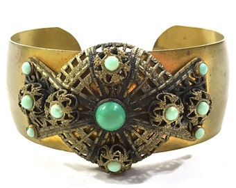 Baroque Bracelet / Vintage 1950s Antique Inspired Cuff Bracelet with Intricate Filigree Setting and Green Faux Gems / Antique Gold