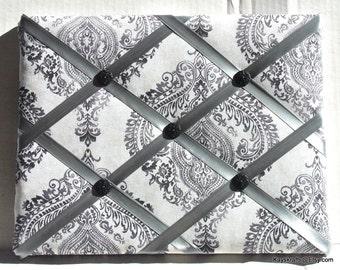 Black And Gray Damask Memory Board French Memo Board, Fabric Ribbon Memo Bulletin Board, Ribbon Pin Board, Fabric Photo Board, Bedroom Decor