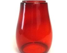 Ruby Red Glass Lantern Globe, Vintage Kerosene Lamp or Railroad Lantern Chimney