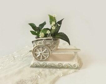 Rubens Original Chariot Vase, White Green and Gold, Ceramic Table Decor, Hickok Design