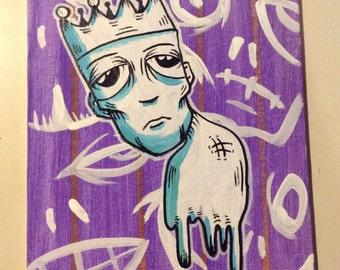 "JOS-L Original Art  6"" X 8"" Canvas Board  Painting Fallen Empire Pop Abstract Outsider Graffiti Surreal Lowbrow Illustration"